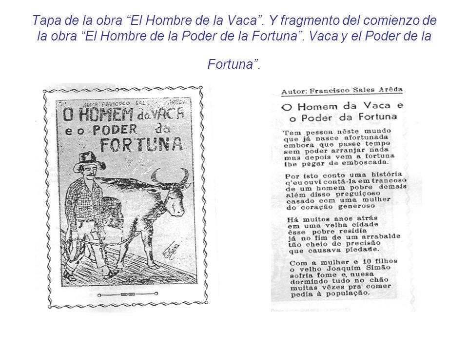 Tapa de la obra El Hombre de la Vaca. Y fragmento del comienzo de la obra El Hombre de la Poder de la Fortuna. Vaca y el Poder de la Fortuna.