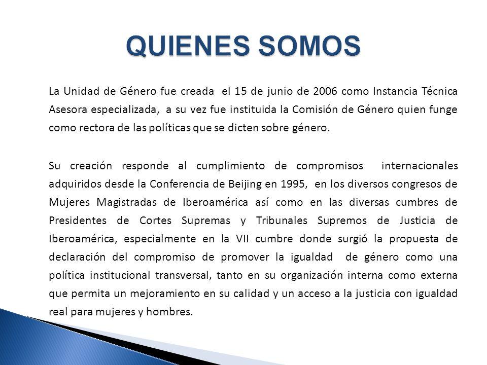 La Unidad de Género fue creada el 15 de junio de 2006 como Instancia Técnica Asesora especializada, a su vez fue instituida la Comisión de Género quien funge como rectora de las políticas que se dicten sobre género.