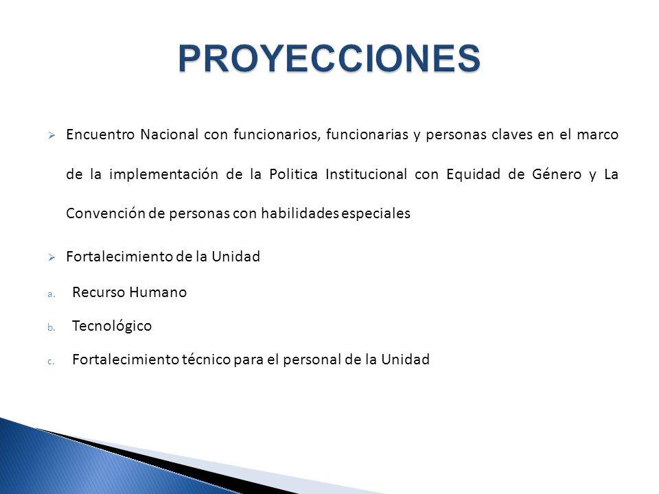 Encuentro Nacional con funcionarios, funcionarias y personas claves en el marco de la implementación de la Politica Institucional con Equidad de Género y La Convención de personas con habilidades especiales Fortalecimiento de la Unidad a.