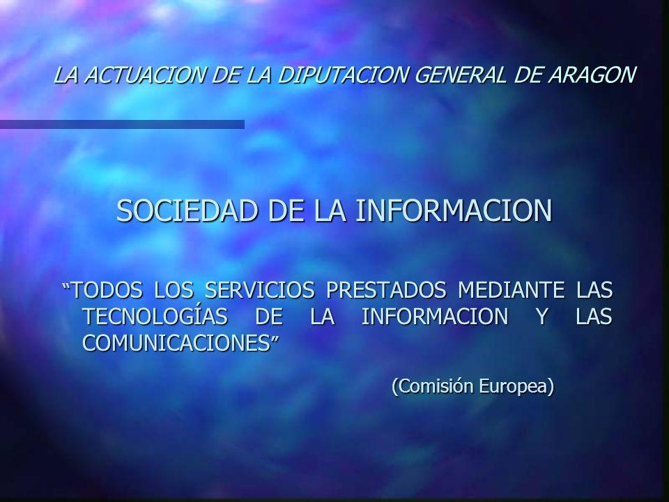 LA ACTUACION DE LA DIPUTACION GENERAL DE ARAGON SOCIEDAD DE LA INFORMACION TODOS LOS SERVICIOS PRESTADOS MEDIANTE LAS TECNOLOGÍAS DE LA INFORMACION Y LAS COMUNICACIONES TODOS LOS SERVICIOS PRESTADOS MEDIANTE LAS TECNOLOGÍAS DE LA INFORMACION Y LAS COMUNICACIONES (Comisión Europea)