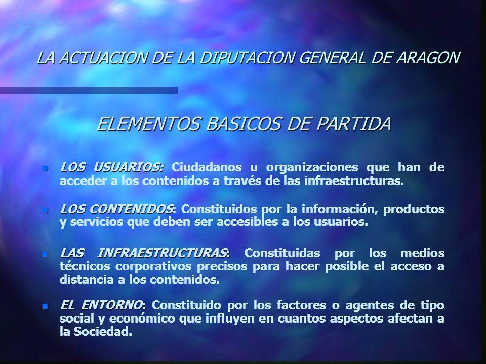 LA ACTUACION DE LA DIPUTACION GENERAL DE ARAGON ELEMENTOS BASICOS DE PARTIDA n LOS USUARIOS: n LOS USUARIOS: Ciudadanos u organizaciones que han de acceder a los contenidos a través de las infraestructuras.