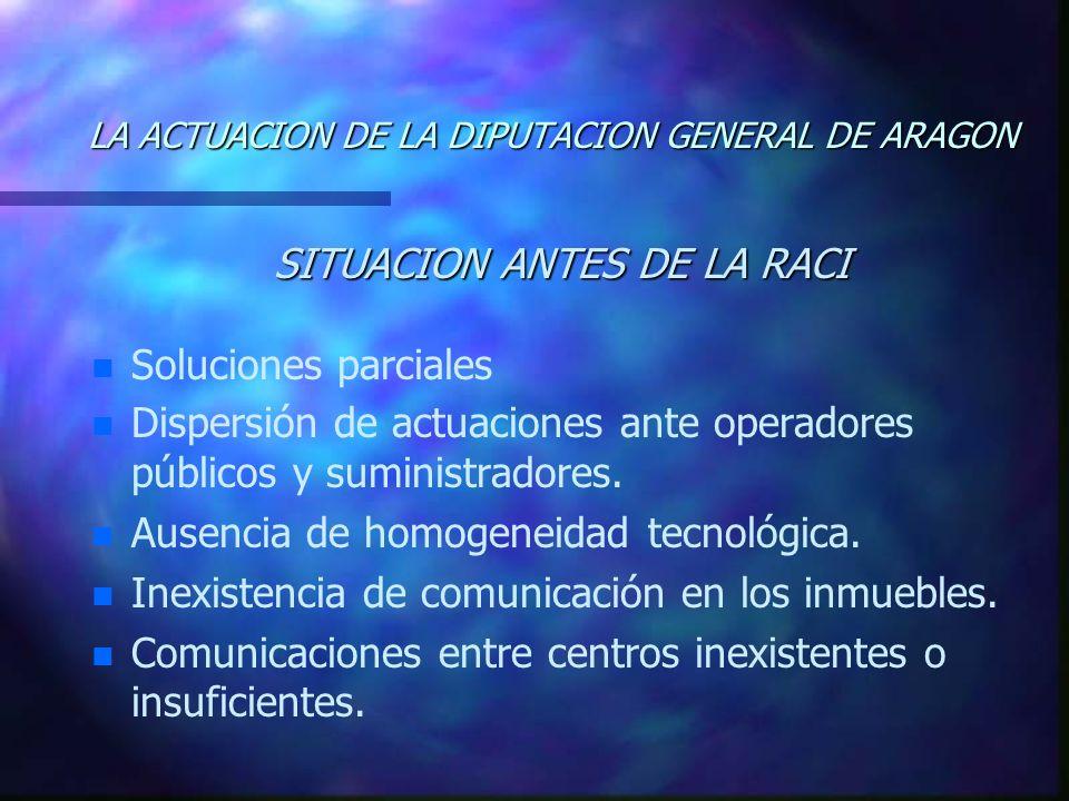 LA ACTUACION DE LA DIPUTACION GENERAL DE ARAGON SITUACION ANTES DE LA RACI n n Soluciones parciales n n Dispersión de actuaciones ante operadores públicos y suministradores.