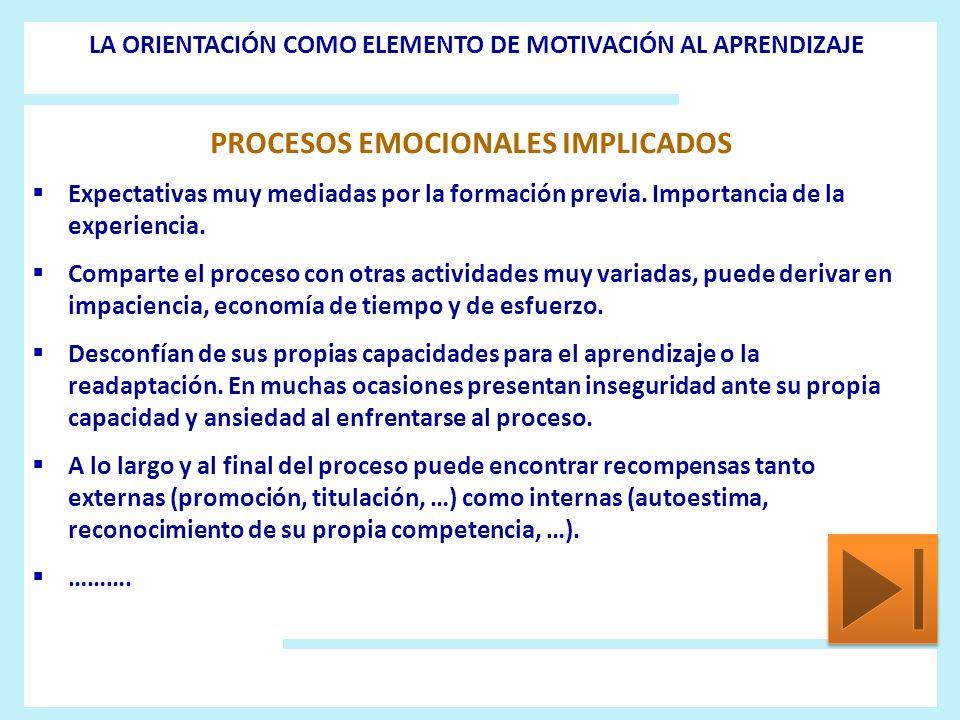 PROCESOS EMOCIONALES IMPLICADOS Expectativas muy mediadas por la formación previa. Importancia de la experiencia. Comparte el proceso con otras activi