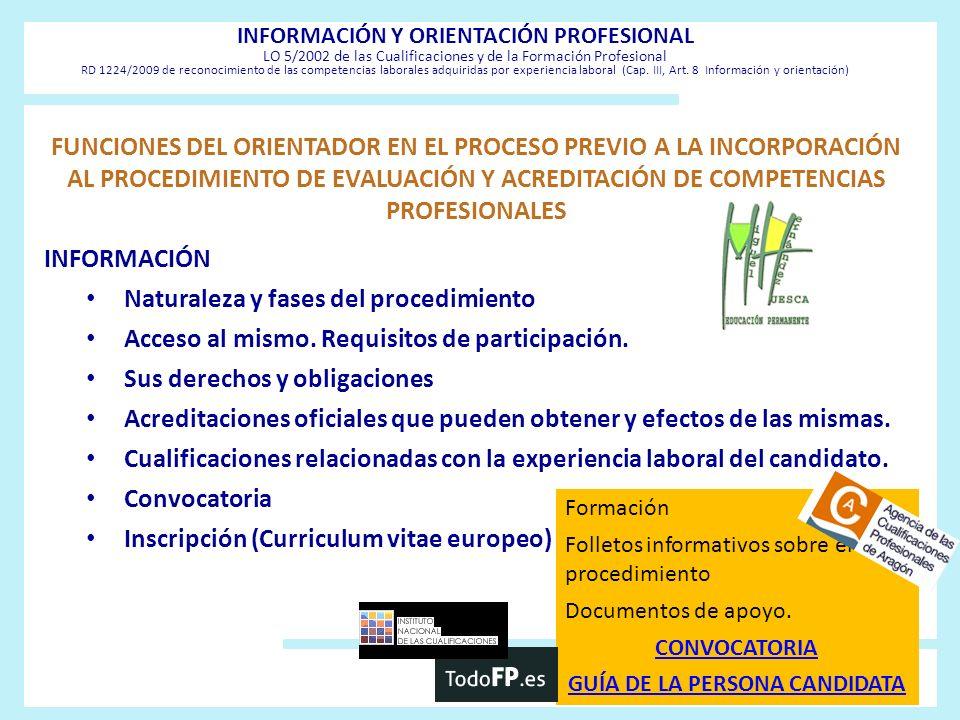 FUNCIONES DEL ORIENTADOR EN EL PROCESO PREVIO A LA INCORPORACIÓN AL PROCEDIMIENTO DE EVALUACIÓN Y ACREDITACIÓN DE COMPETENCIAS PROFESIONALES INFORMACI