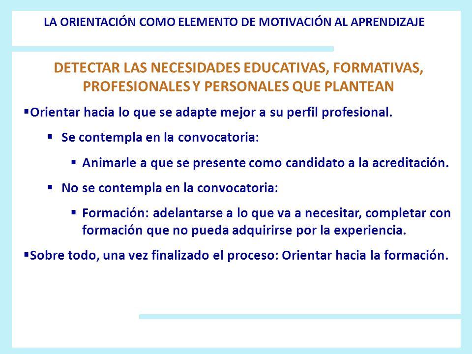 DETECTAR LAS NECESIDADES EDUCATIVAS, FORMATIVAS, PROFESIONALES Y PERSONALES QUE PLANTEAN Orientar hacia lo que se adapte mejor a su perfil profesional