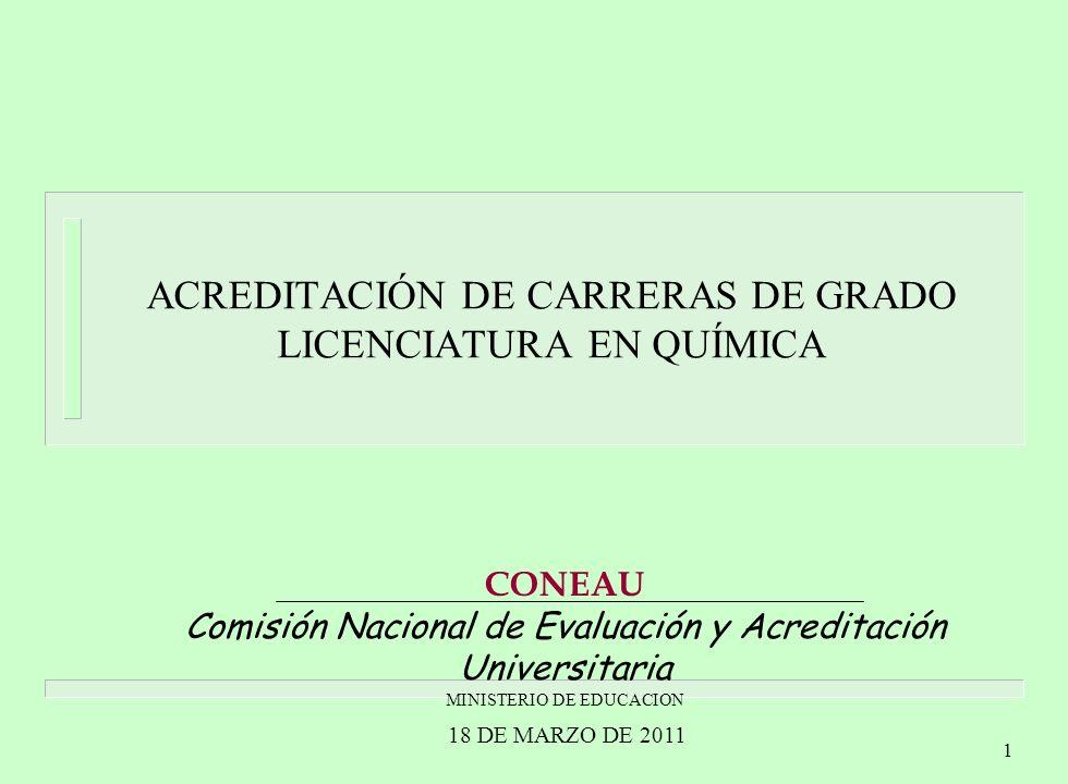 1 ACREDITACIÓN DE CARRERAS DE GRADO LICENCIATURA EN QUÍMICA CONEAU Comisión Nacional de Evaluación y Acreditación Universitaria MINISTERIO DE EDUCACION 18 DE MARZO DE 2011