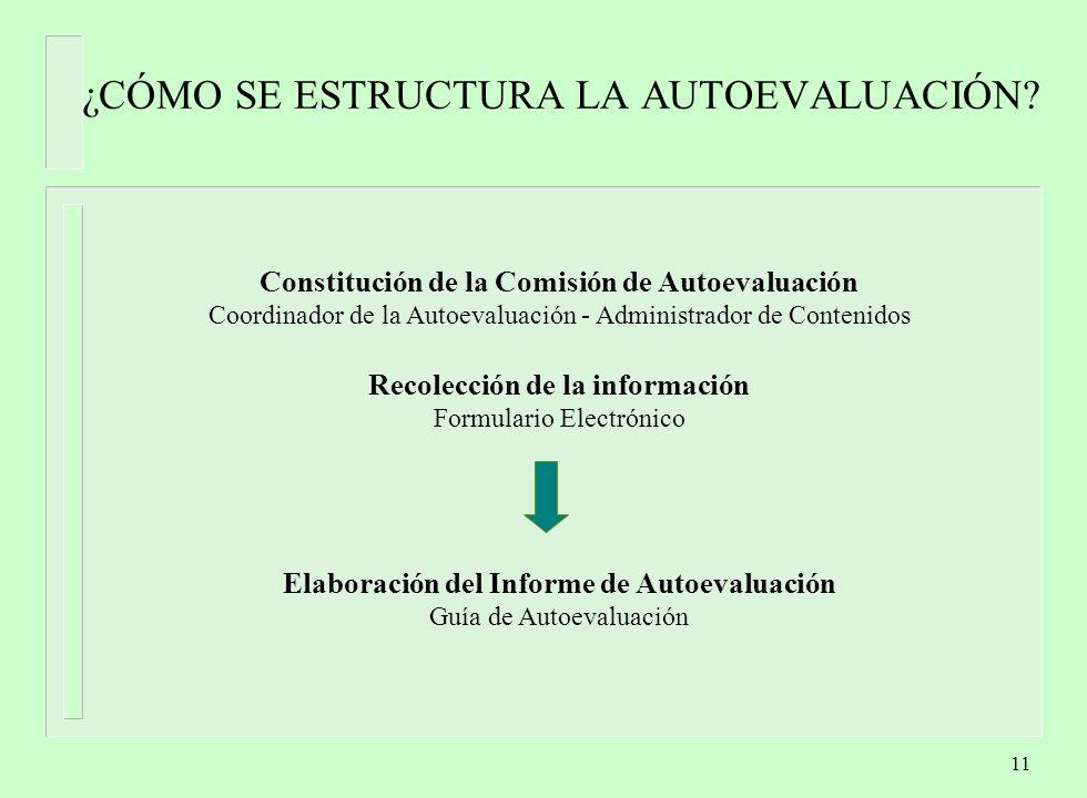 11 ¿CÓMO SE ESTRUCTURA LA AUTOEVALUACIÓN.