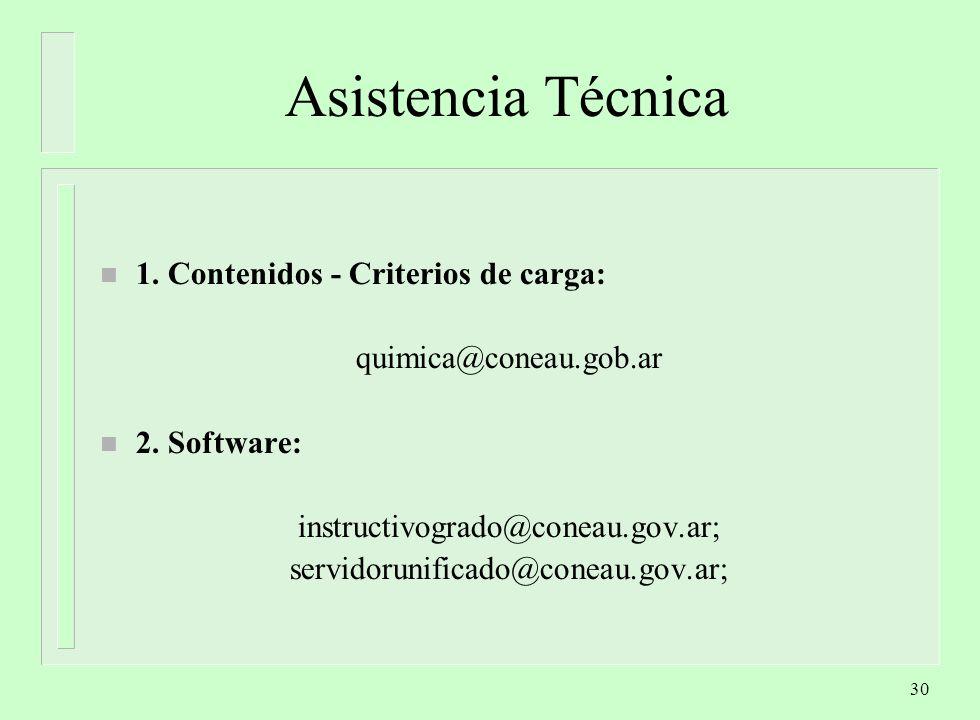 30 Asistencia Técnica n 1.Contenidos - Criterios de carga: quimica@coneau.gob.ar n 2.