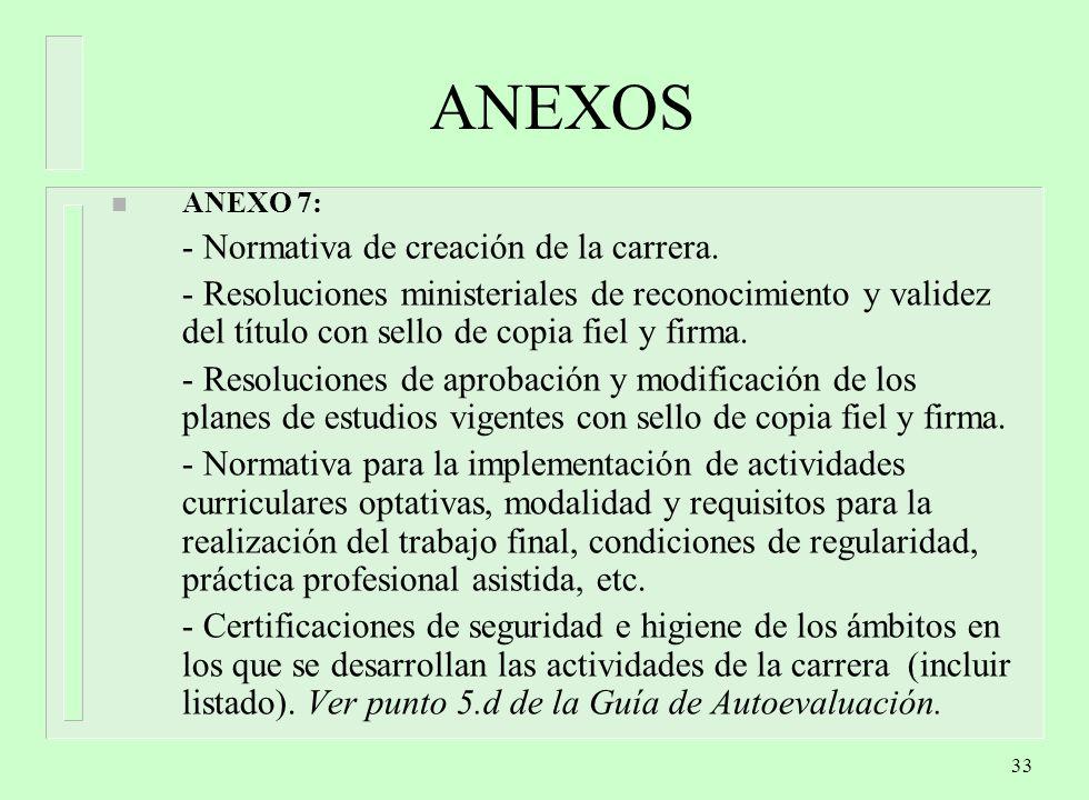33 ANEXOS n ANEXO 7: - Normativa de creación de la carrera.