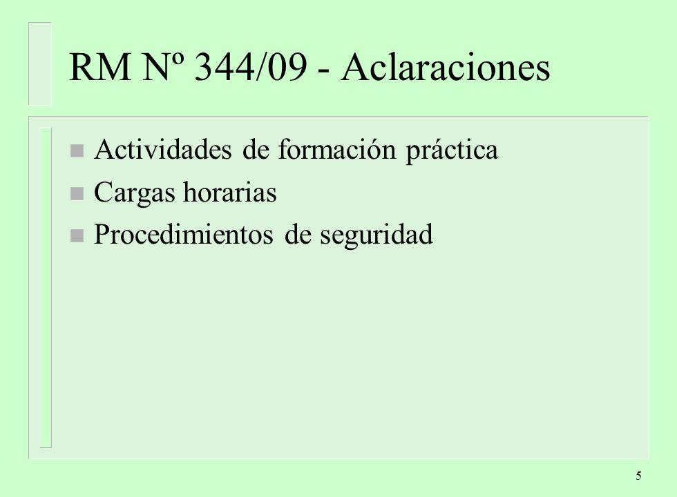 5 RM Nº 344/09 - Aclaraciones n Actividades de formación práctica n Cargas horarias n Procedimientos de seguridad