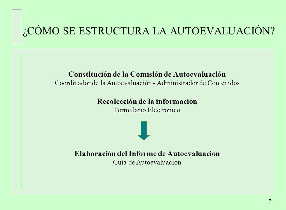 8 EL TRABAJO DE LOS PARES Resolución Ministerial Formulario Electrónico Informe de Autoevaluación Comité de Pares Visita INFORME