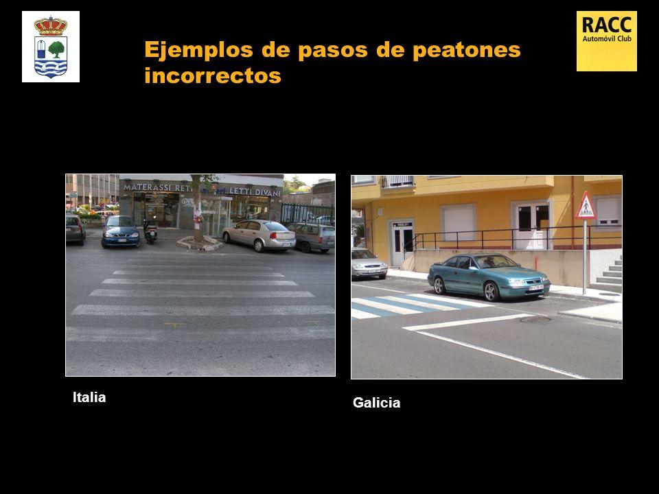 Italia Galicia Ejemplos de pasos de peatones incorrectos