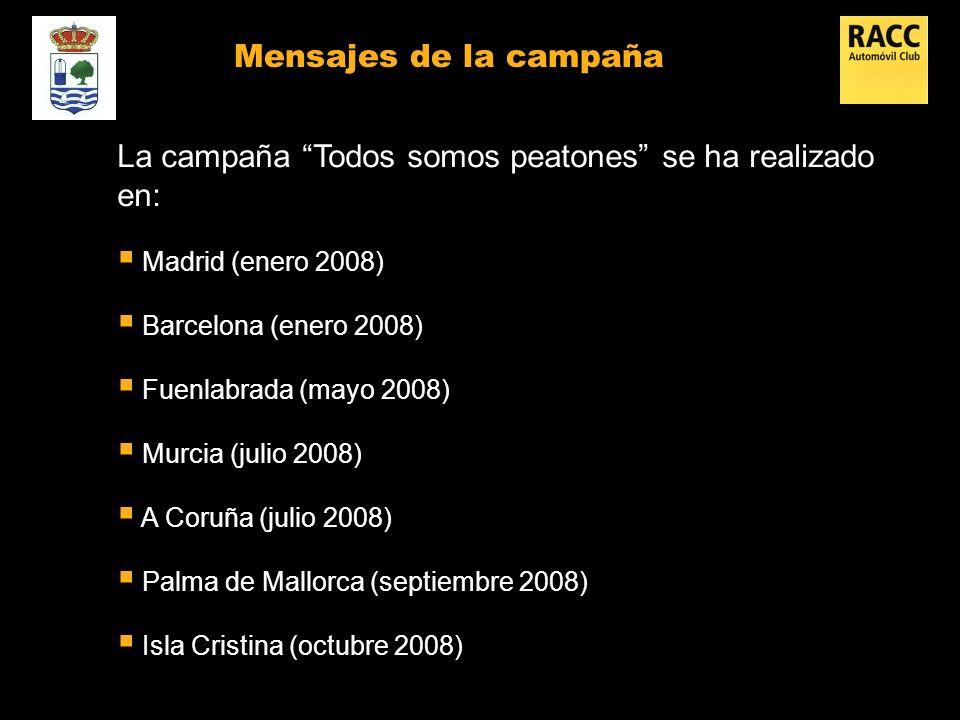 Mensajes de la campaña La campaña Todos somos peatones se ha realizado en: Madrid (enero 2008) Barcelona (enero 2008) Fuenlabrada (mayo 2008) Murcia (julio 2008) A Coruña (julio 2008) Palma de Mallorca (septiembre 2008) Isla Cristina (octubre 2008)