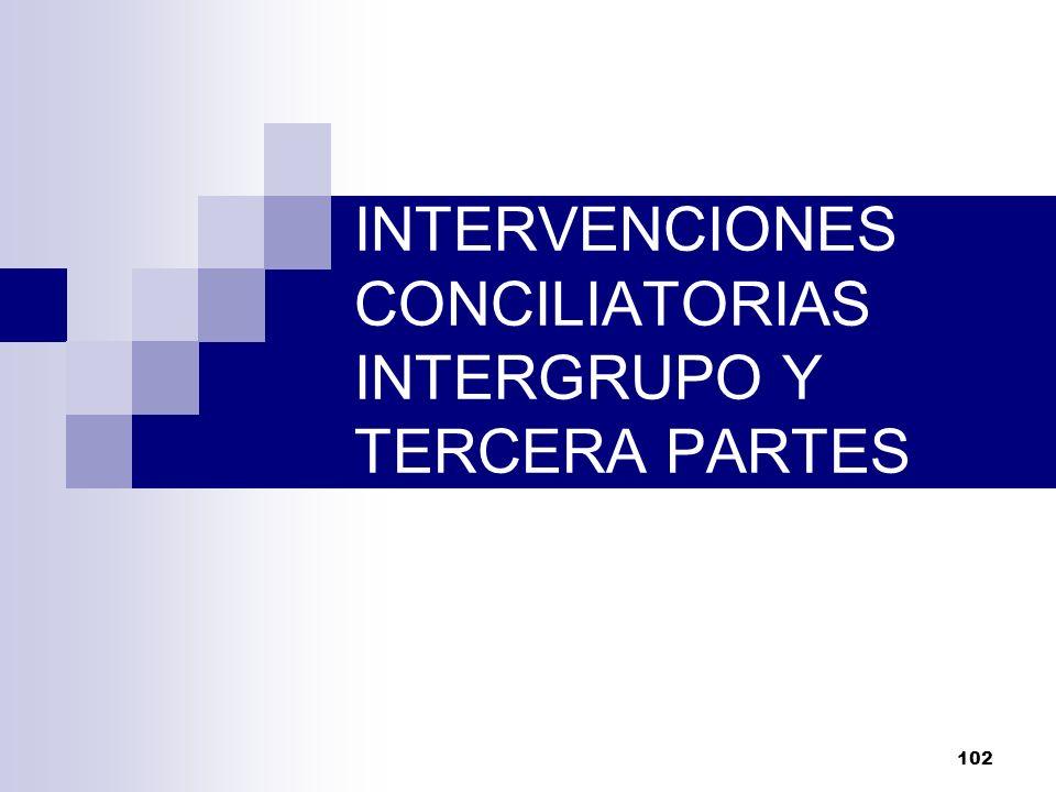 102 INTERVENCIONES CONCILIATORIAS INTERGRUPO Y TERCERA PARTES