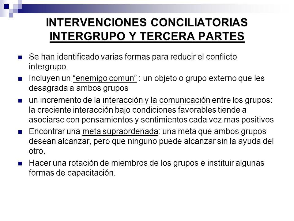 Se han identificado varias formas para reducir el conflicto intergrupo. Incluyen un enemigo comun : un objeto o grupo externo que les desagrada a ambo