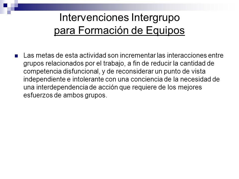 Intervenciones Intergrupo para Formación de Equipos Las metas de esta actividad son incrementar las interacciones entre grupos relacionados por el tra