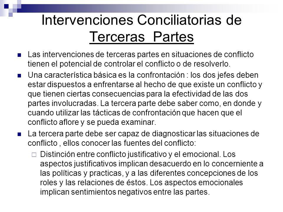 Intervenciones Conciliatorias de Terceras Partes Las intervenciones de terceras partes en situaciones de conflicto tienen el potencial de controlar el