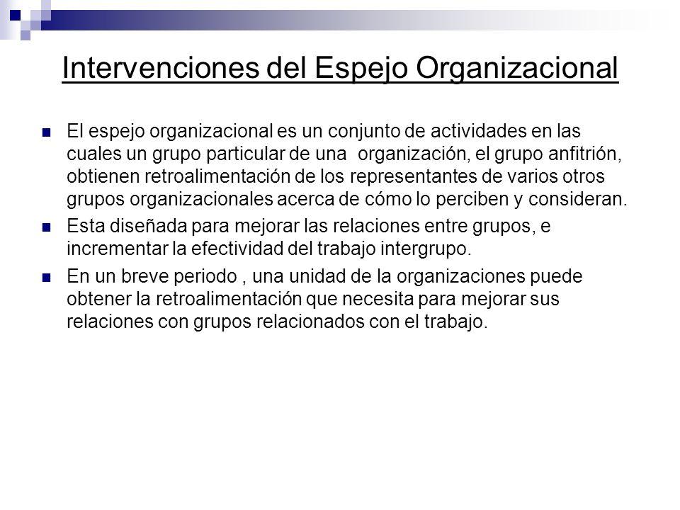 Intervenciones del Espejo Organizacional El espejo organizacional es un conjunto de actividades en las cuales un grupo particular de una organización,
