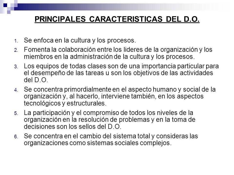 PRINCIPALES CARACTERISTICAS DEL D.O. 1. Se enfoca en la cultura y los procesos. 2. Fomenta la colaboración entre los lideres de la organización y los