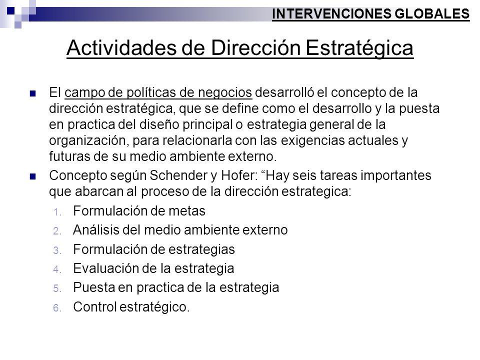 Actividades de Dirección Estratégica El campo de políticas de negocios desarrolló el concepto de la dirección estratégica, que se define como el desar