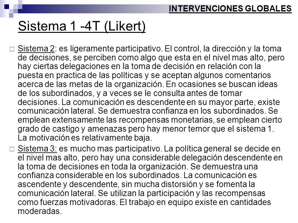 Sistema 1 -4T (Likert) Sistema 2: es ligeramente participativo. El control, la dirección y la toma de decisiones, se perciben como algo que esta en el