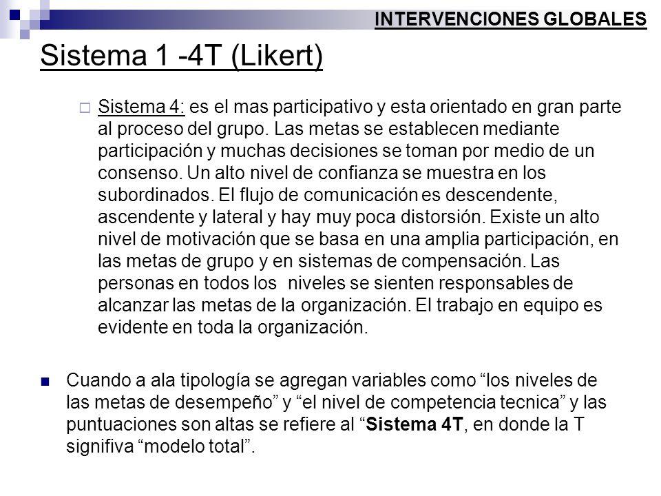 Sistema 1 -4T (Likert) Sistema 4: es el mas participativo y esta orientado en gran parte al proceso del grupo. Las metas se establecen mediante partic