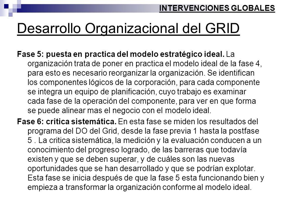 Desarrollo Organizacional del GRID Fase 5: puesta en practica del modelo estratégico ideal. La organización trata de poner en practica el modelo ideal