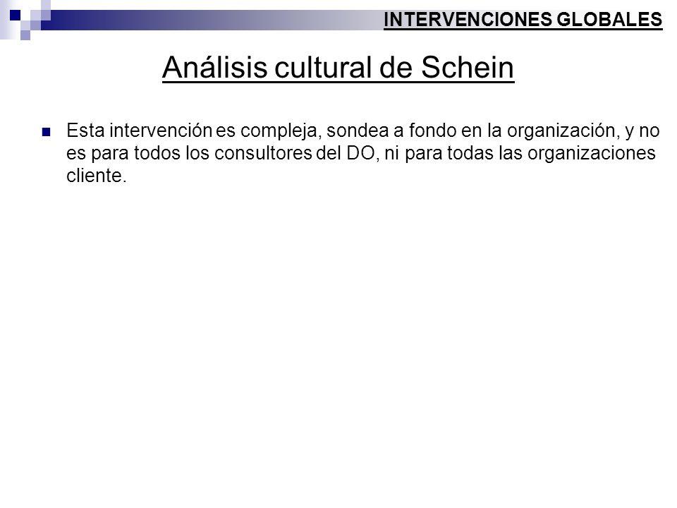 Análisis cultural de Schein Esta intervención es compleja, sondea a fondo en la organización, y no es para todos los consultores del DO, ni para todas