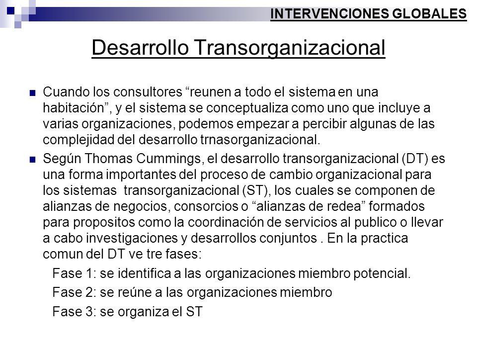 Desarrollo Transorganizacional Cuando los consultores reunen a todo el sistema en una habitación, y el sistema se conceptualiza como uno que incluye a