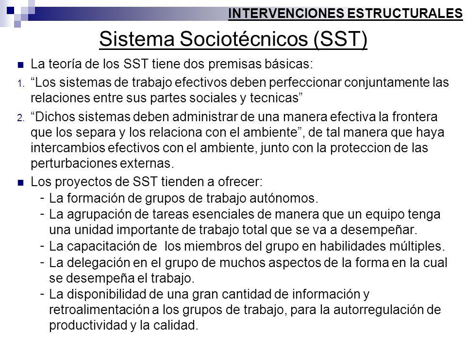 Sistema Sociotécnicos (SST) La teoría de los SST tiene dos premisas básicas: 1. Los sistemas de trabajo efectivos deben perfeccionar conjuntamente las