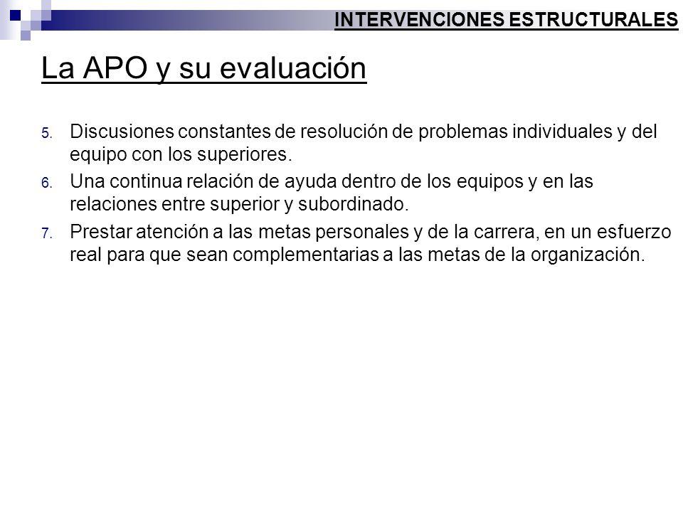 La APO y su evaluación 5. Discusiones constantes de resolución de problemas individuales y del equipo con los superiores. 6. Una continua relación de