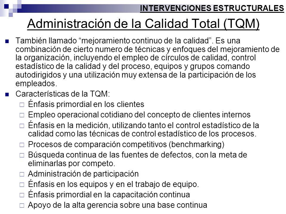 Administración de la Calidad Total (TQM) También llamado mejoramiento continuo de la calidad. Es una combinación de cierto numero de técnicas y enfoqu