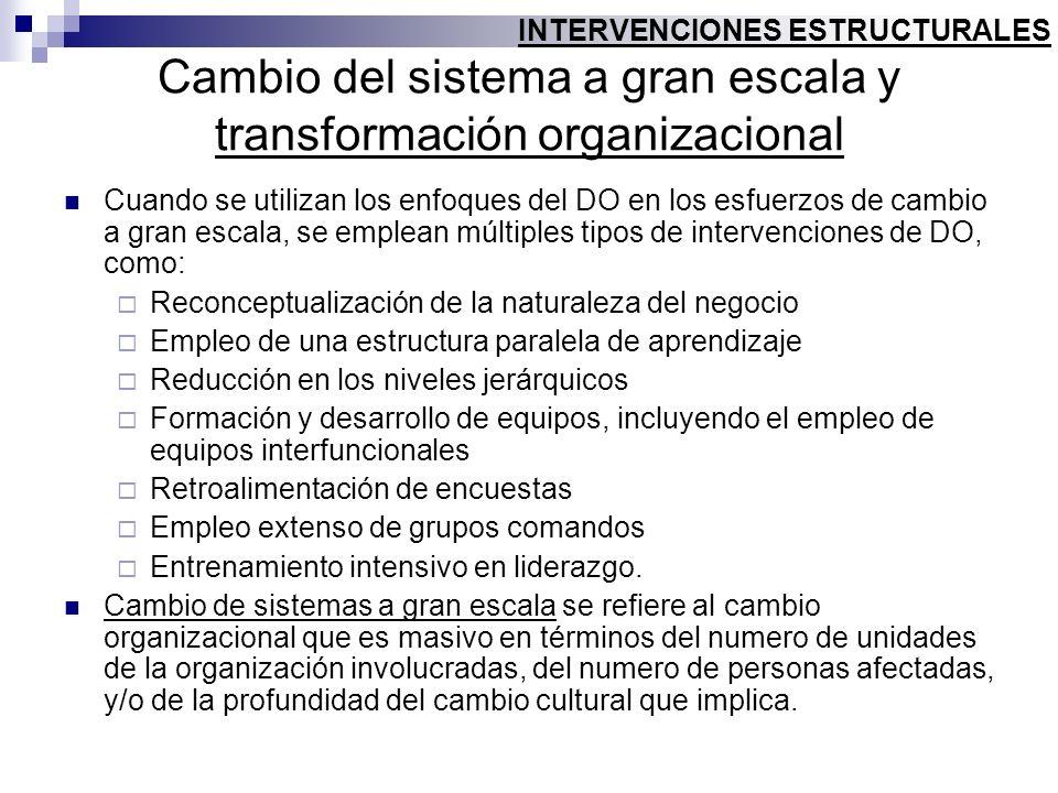 Cambio del sistema a gran escala y transformación organizacional Cuando se utilizan los enfoques del DO en los esfuerzos de cambio a gran escala, se e