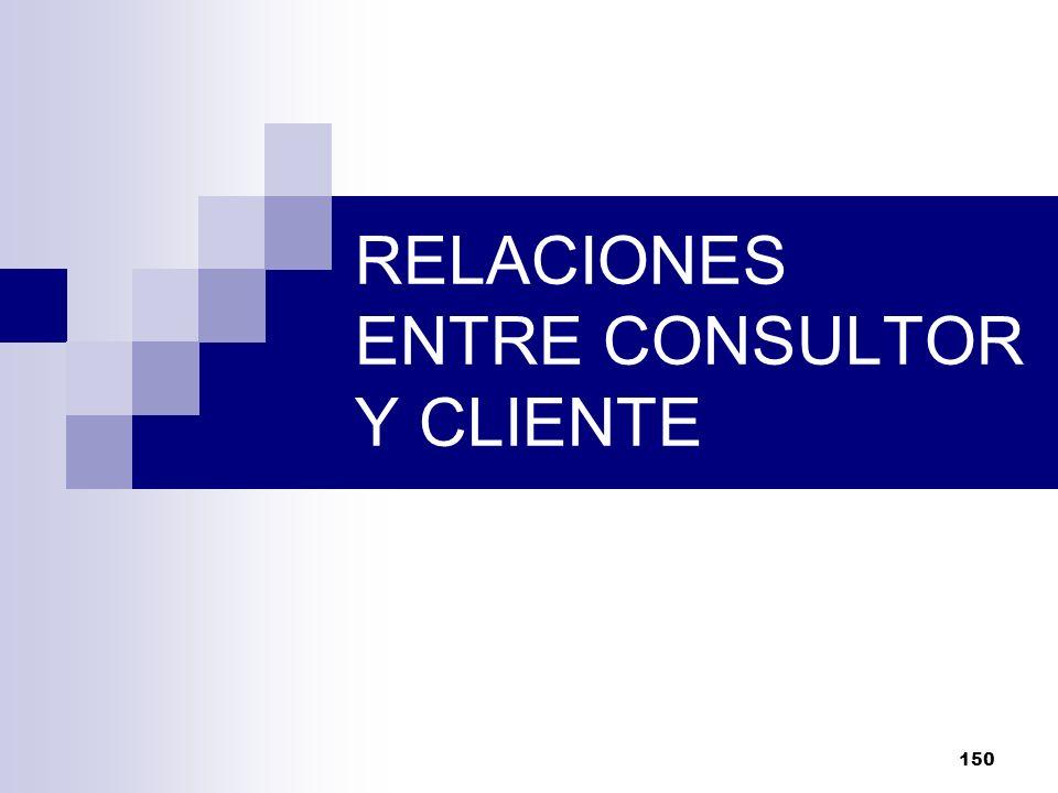 150 RELACIONES ENTRE CONSULTOR Y CLIENTE