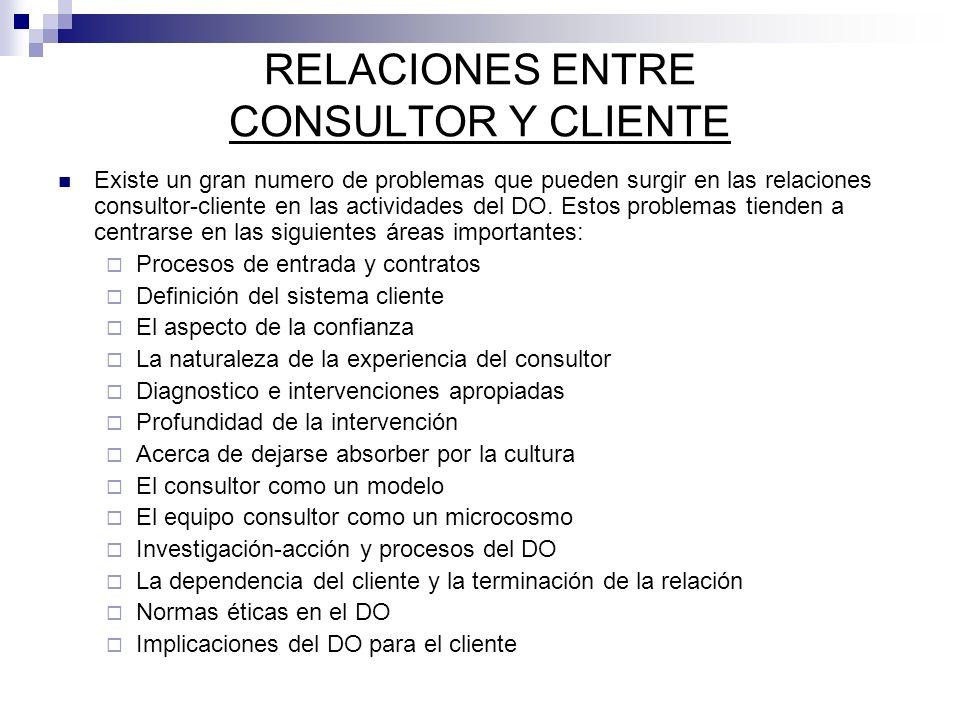 Existe un gran numero de problemas que pueden surgir en las relaciones consultor-cliente en las actividades del DO. Estos problemas tienden a centrars