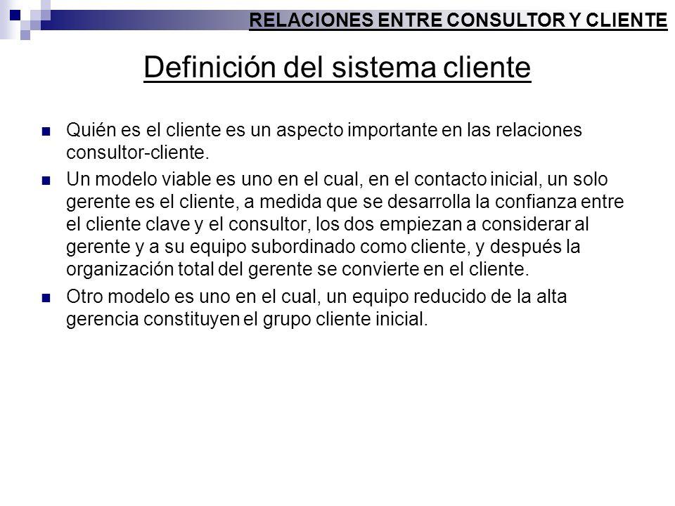 Definición del sistema cliente Quién es el cliente es un aspecto importante en las relaciones consultor-cliente. Un modelo viable es uno en el cual, e