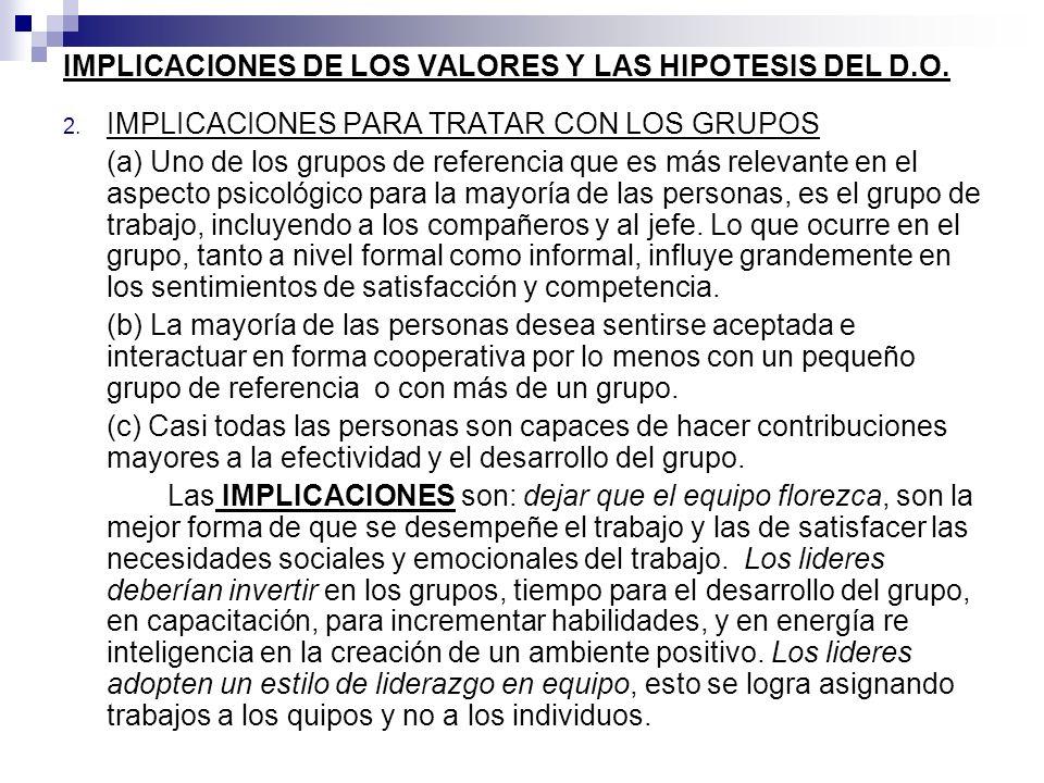 IMPLICACIONES DE LOS VALORES Y LAS HIPOTESIS DEL D.O. 2. IMPLICACIONES PARA TRATAR CON LOS GRUPOS (a) Uno de los grupos de referencia que es más relev