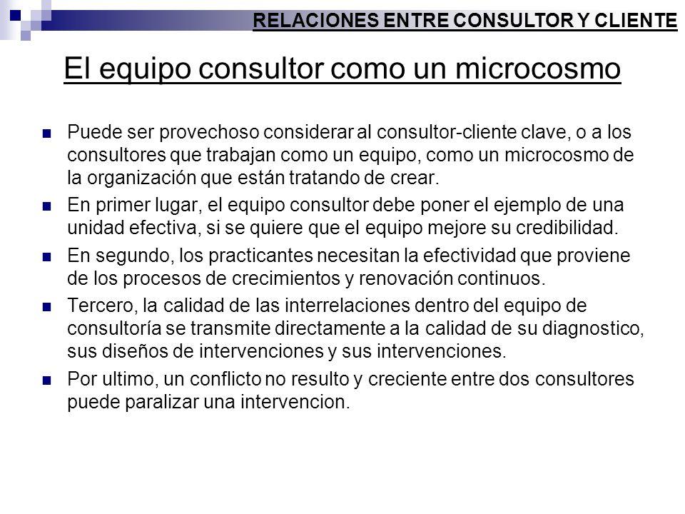 El equipo consultor como un microcosmo Puede ser provechoso considerar al consultor-cliente clave, o a los consultores que trabajan como un equipo, co