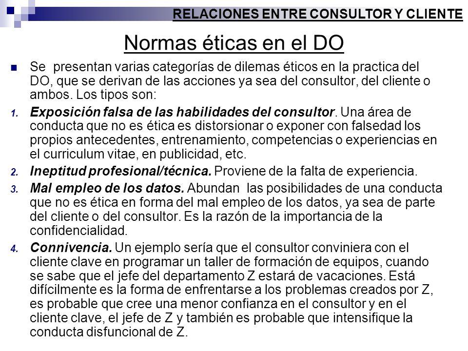 Normas éticas en el DO Se presentan varias categorías de dilemas éticos en la practica del DO, que se derivan de las acciones ya sea del consultor, de