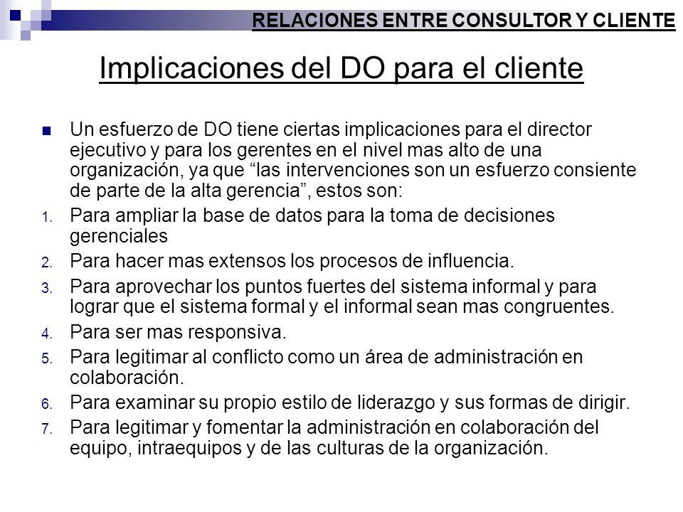 Implicaciones del DO para el cliente Un esfuerzo de DO tiene ciertas implicaciones para el director ejecutivo y para los gerentes en el nivel mas alto