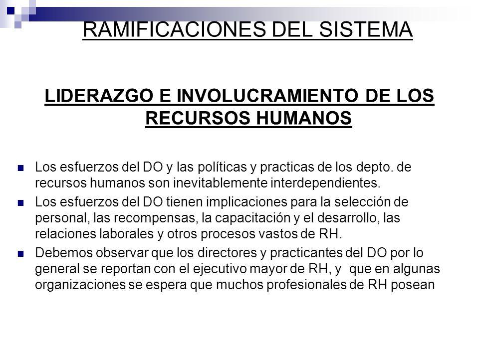 LIDERAZGO E INVOLUCRAMIENTO DE LOS RECURSOS HUMANOS Los esfuerzos del DO y las políticas y practicas de los depto. de recursos humanos son inevitablem