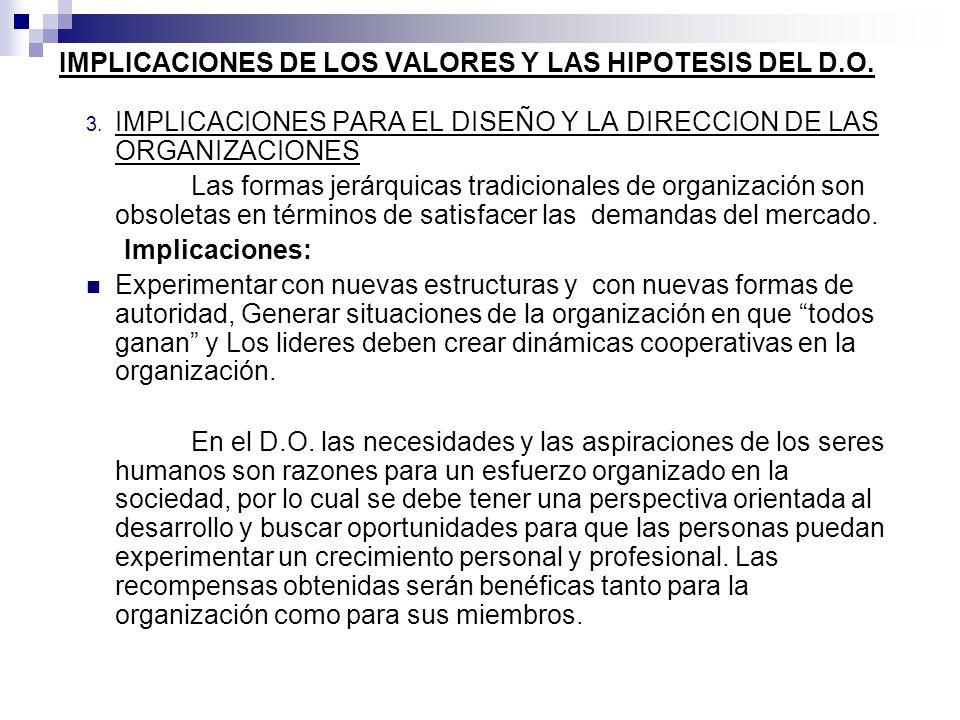 IMPLICACIONES DE LOS VALORES Y LAS HIPOTESIS DEL D.O. 3. IMPLICACIONES PARA EL DISEÑO Y LA DIRECCION DE LAS ORGANIZACIONES Las formas jerárquicas trad