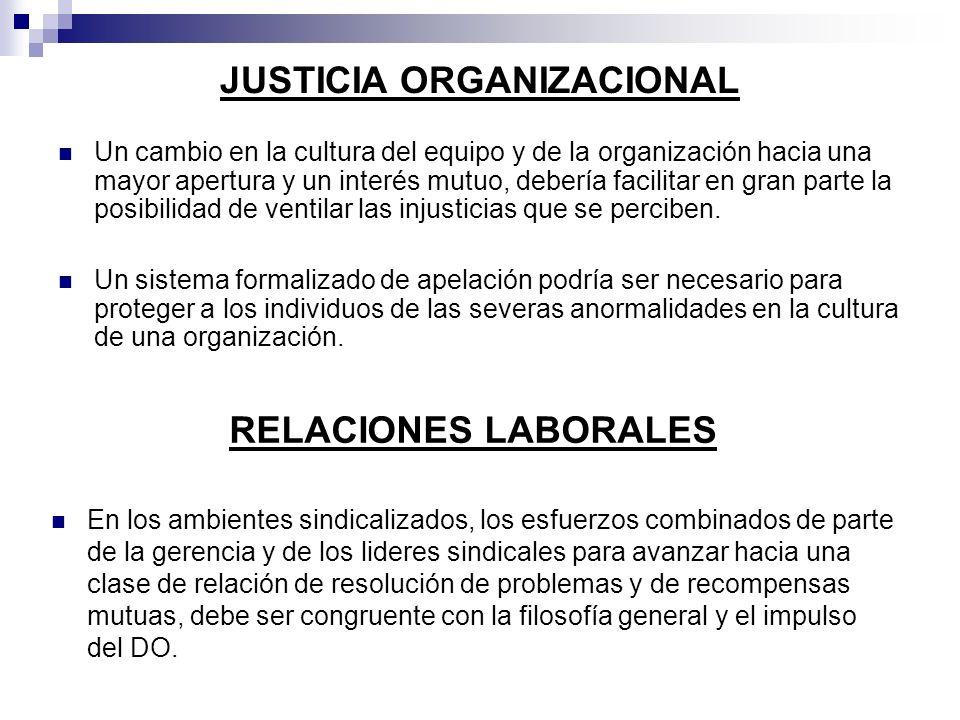 JUSTICIA ORGANIZACIONAL Un cambio en la cultura del equipo y de la organización hacia una mayor apertura y un interés mutuo, debería facilitar en gran