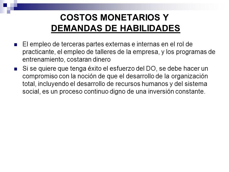 COSTOS MONETARIOS Y DEMANDAS DE HABILIDADES El empleo de terceras partes externas e internas en el rol de practicante, el empleo de talleres de la emp