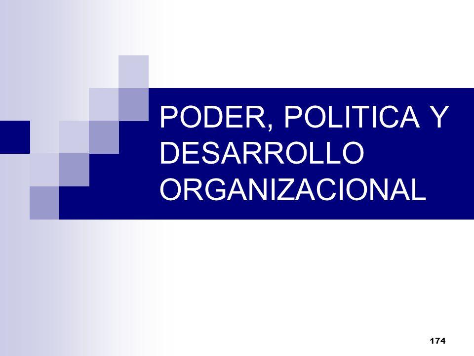 174 PODER, POLITICA Y DESARROLLO ORGANIZACIONAL