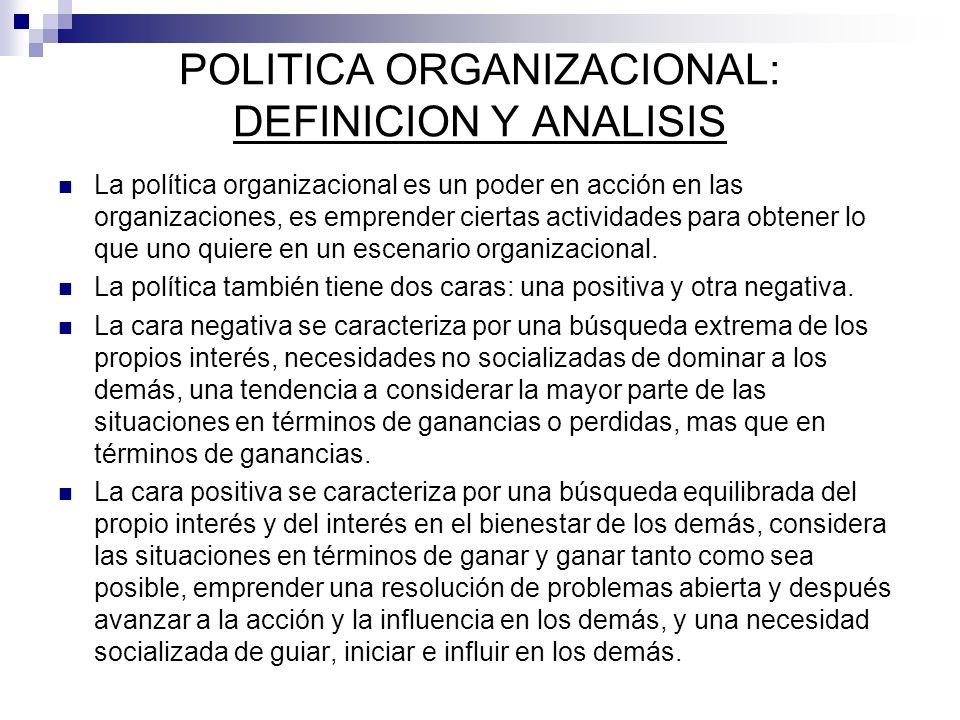 POLITICA ORGANIZACIONAL: DEFINICION Y ANALISIS La política organizacional es un poder en acción en las organizaciones, es emprender ciertas actividade