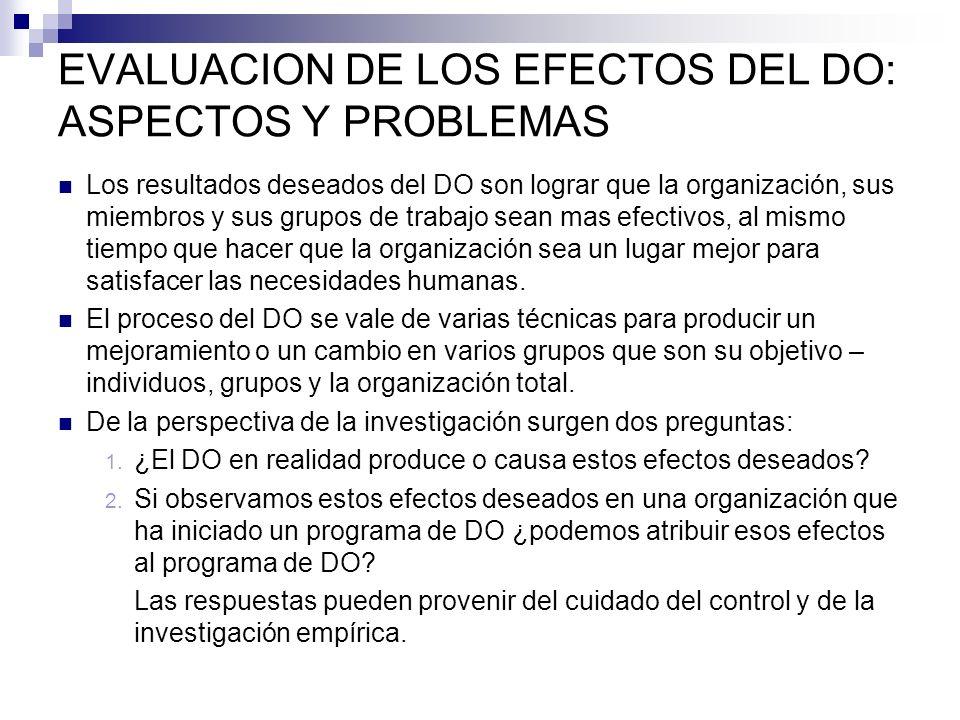 EVALUACION DE LOS EFECTOS DEL DO: ASPECTOS Y PROBLEMAS Los resultados deseados del DO son lograr que la organización, sus miembros y sus grupos de tra