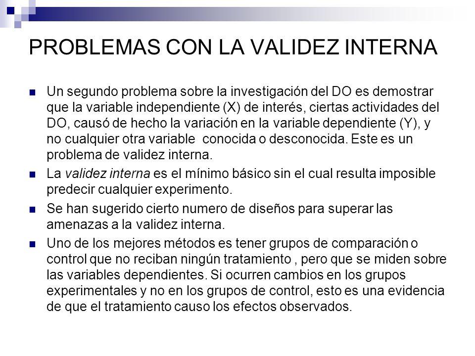 PROBLEMAS CON LA VALIDEZ INTERNA Un segundo problema sobre la investigación del DO es demostrar que la variable independiente (X) de interés, ciertas