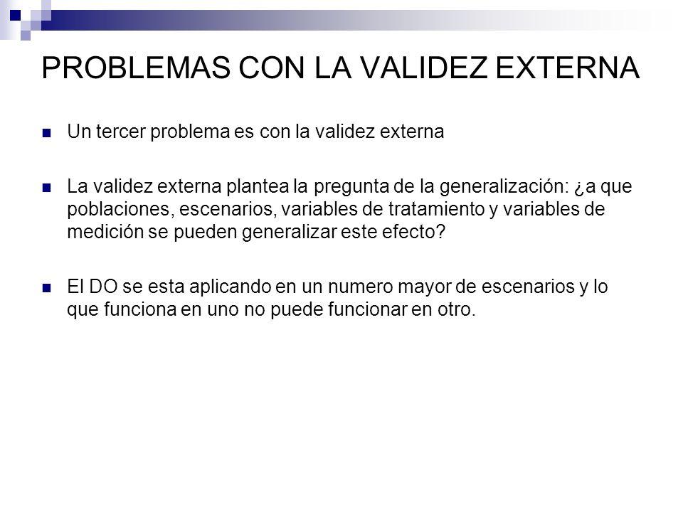 PROBLEMAS CON LA VALIDEZ EXTERNA Un tercer problema es con la validez externa La validez externa plantea la pregunta de la generalización: ¿a que pobl