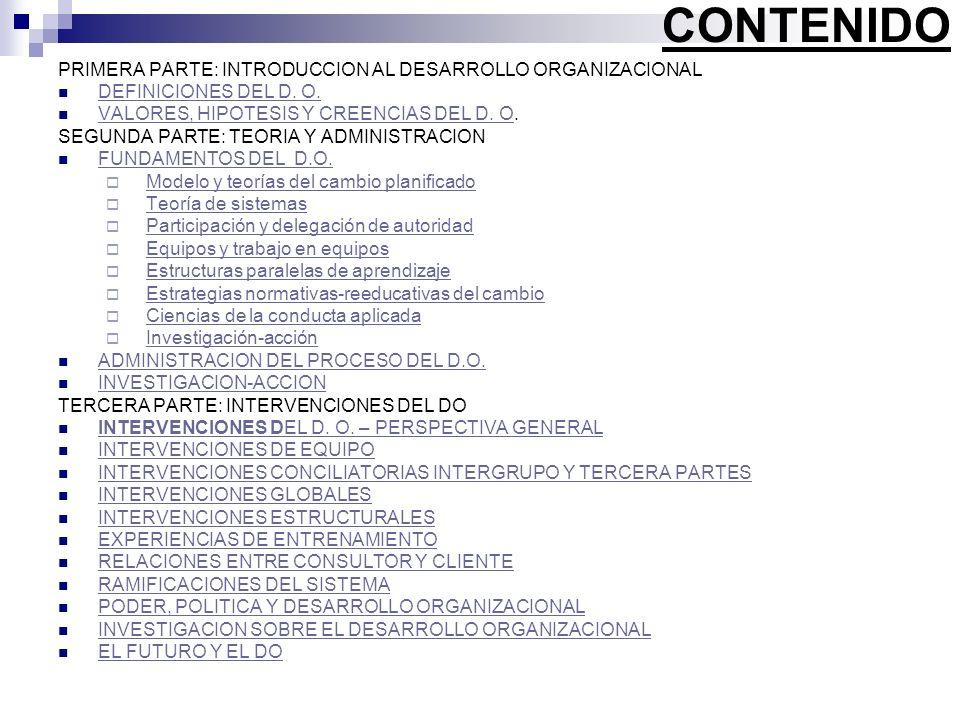 CONTENIDO PRIMERA PARTE: INTRODUCCION AL DESARROLLO ORGANIZACIONAL DEFINICIONES DEL D. O. VALORES, HIPOTESIS Y CREENCIAS DEL D. O. VALORES, HIPOTESIS